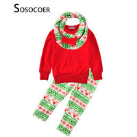 Girls Clothing Sets Christmas 3pcs T Shirt Deer Pant Scarf Cute Reindeer Kids Baby Clothes 2017
