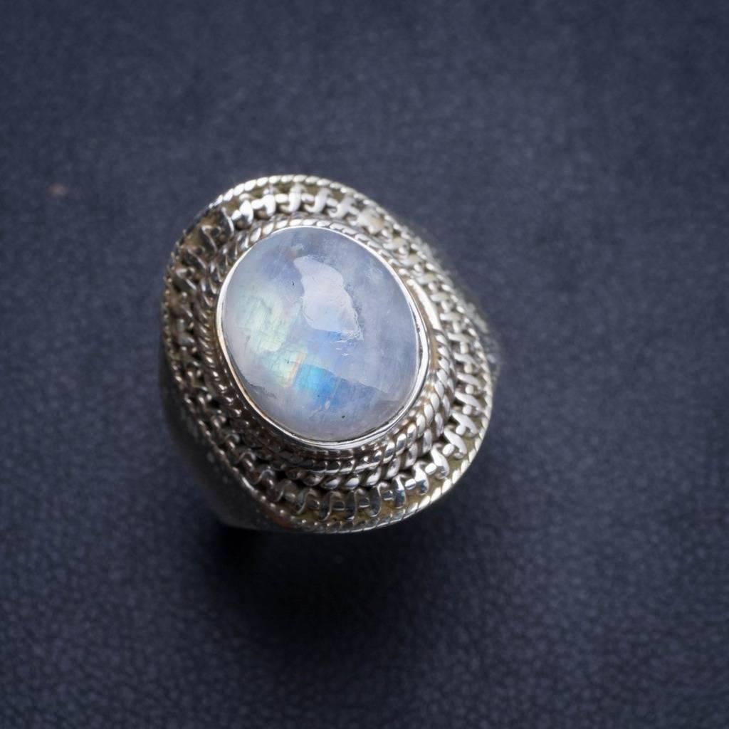 Natural Rainbow Moonstone Handmade Unique 925 Sterling Silver Ring 7.5 Y4564 natural rainbow moonstone handmade unique 925 sterling silver ring 6 75 y4681