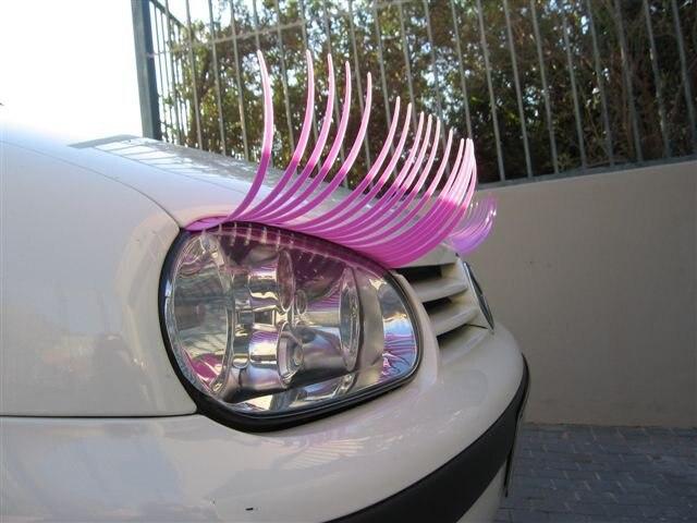 Pink Eyelashes For Cars 3d Eyeliner Feminist Fashion Car Headlight