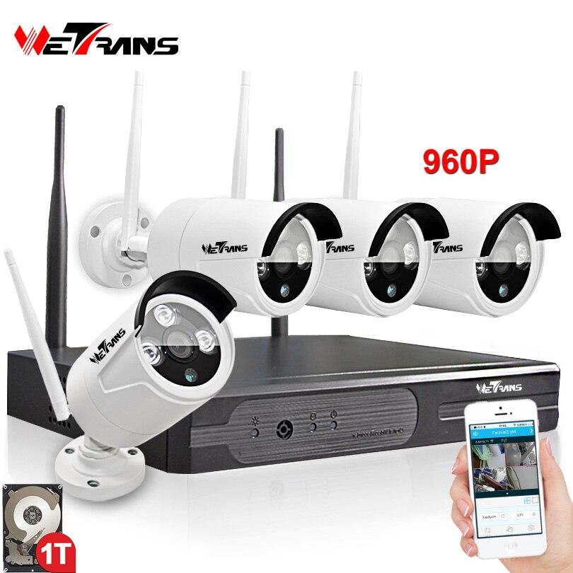 Беспроводной видеонаблюдения Системы 4CH комплект Plug & Play P2P HD 960 P 20 m Ночное видение Водонепроницаемый Камера DVR Wi-Fi комплект видеонаблюдения