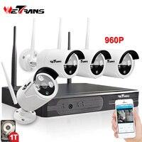 Беспроводной видеонаблюдения Системы 4CH комплект Plug & Play P2P HD 960 P 20 m Ночное видение Водонепроницаемый Камера DVR Wi Fi комплект видеонаблюдения