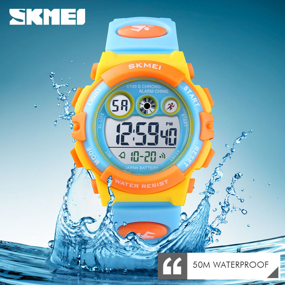 <font><b>SKMEI</b></font> Kids LED Sports Watch 50m Waterproof Children Alarm Digital Clock <font><b>1451</b></font> Time Date Week Display image