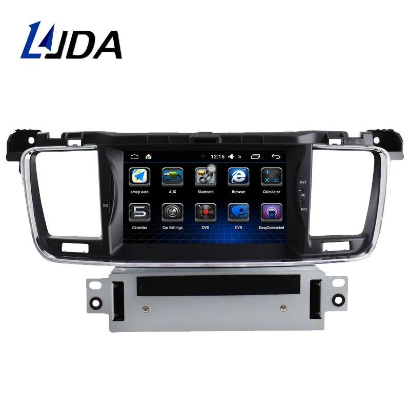 LJDA 1 Din autoradio Android 6.0 lecteur DVD de voiture pour PEUGEOT 508 2011-2015 GPS Navigation Aadio WIFi volant multimédia