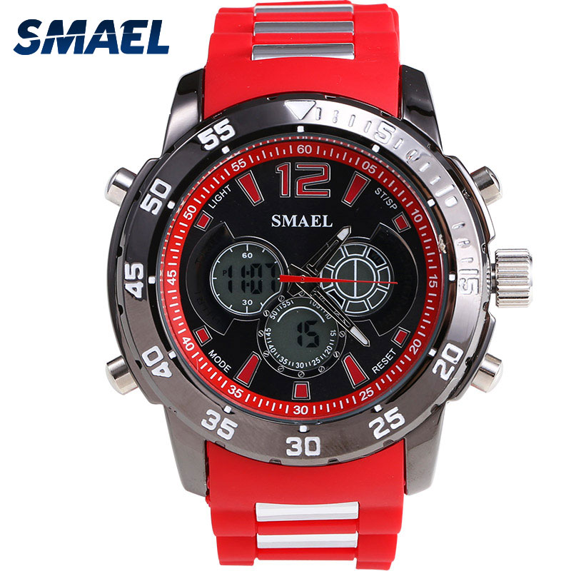SMAEL Brand Fashion Male Clock Dual Display Watch 30M Waterproof Watches Wristwatchwes For Men Top Quartz Clock Naviforce 1063