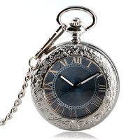 Retro Self Wind Pocket Watch Automatic Mechanical Carving Gray Dial Roman Numerals Steampunk Classic Exquisite Silver