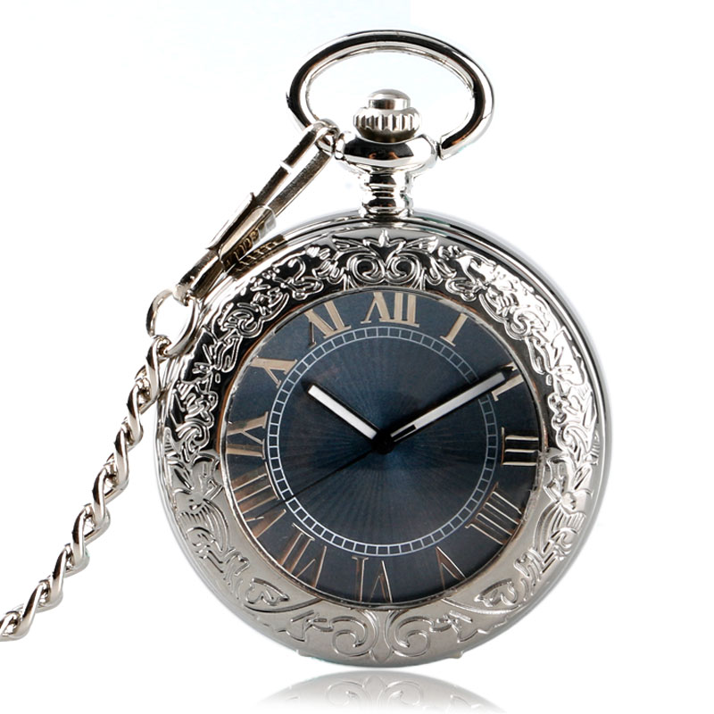 Vintage Mechanical Automatic Self Wind Pocket Watch Transparent Silver Pocket Watch Luxury Fob Watches Men Clock Women Xmas Gift