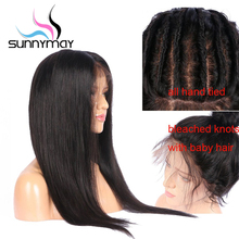 Sunnymay 13x4 Straight Lace Front Human Hair Wigs Pre Plucked with Baby Hair Glueless Remy Hair Lace Front Wigs Bleached Knots
