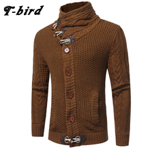 T-Bird 2017 NEW Autumn Winter Fashion Leisure Cardigan Sweater Coat Men Horn Button Warm Knitting Clothes Sweaters