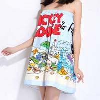 Disney cartoon mickey mouse cotton gauze bath skirt wearable bath towel Adult Lady Child Bra Soft, quick drying bath towel