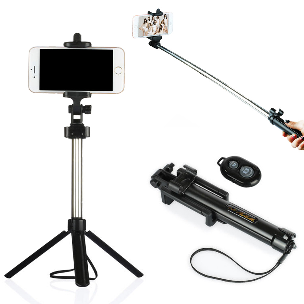 handheld tripod 2 in 1 extendable bluetooth selfie stick for iphone 7 6. Black Bedroom Furniture Sets. Home Design Ideas