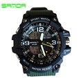 SANDA 759 Автоматическая водонепроницаемый наручные часы Мужчины Мода двойной дисплей военно Часы людей верхнего качества известный datajust часы