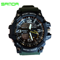 SANDA 759 Automatic waterproof wristwatch Men Fashion dual display army military Watch top quality mens famous datajust clock