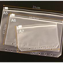 A5 A6 A7 PVC Waterproof Filofax Zipper Bag Concise Planner Spiral Storage Card Bag Filing