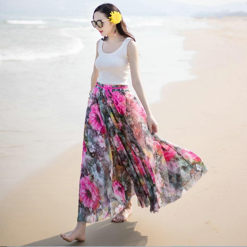 New SpringSummer Chiffon Skirt Women Fashion Elastic Height Waist Beach Skirt Ankle-Length Colored Floral Printed Skirts