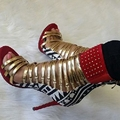 Fashion Red/Green Gladiator Women Sandals Dot High Heel Shoes Sandalia Feminina Open Toe Rivets Cover Heels Plus Size 34-45