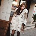 NUEVO 2016 Europa América las mujeres abrigo de invierno largo flojo causal grueso con capucha a prueba de viento de algodón acolchado plus tamaño grande parka chaqueta W35