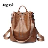 Moxi Fashion Women Backpack High Quality School Shoulder Bag Youth Leather Backpacks For Teenage Female Leisure Travel Bag