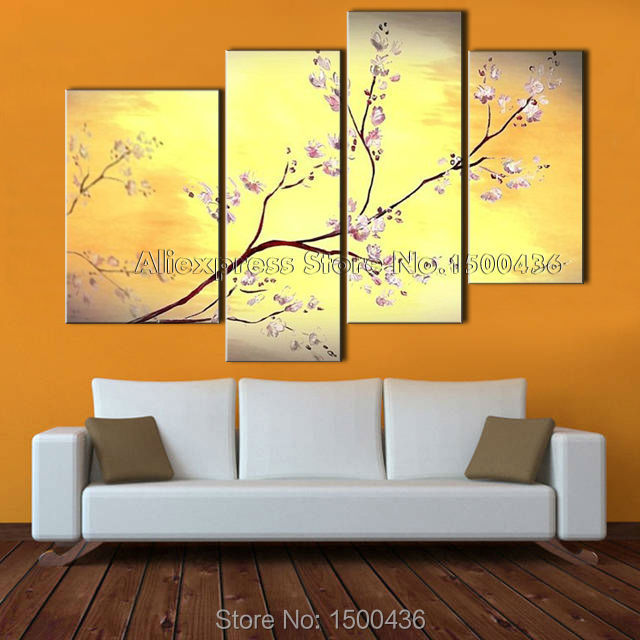 Hand Painted Abstract Flower Painting 4 Piece Canvas Cherry Blossom ...