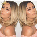 2016 Fashion Full Lace Human Hair Wigs Ombre Glueless Lace Front Wig Silky Straight Two Tone Brazilian Hair Wigs with Baby Hair