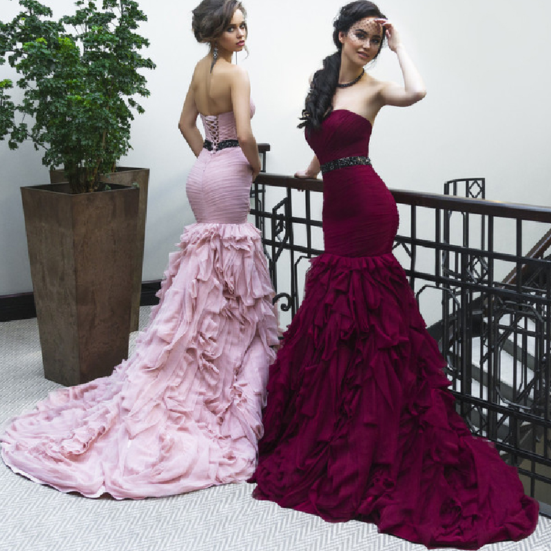 Online Shop Famous Designer Design Mermaid Evening Dresses Tiered ...