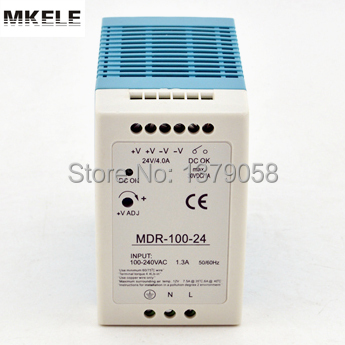 24 V 4A 100 W petit volume din rail simple sortie alimentation à découpage MDR-100-24