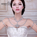 Luxury Queen Large Crystal Flower Pendent Bridal Shoulder Necklace Chain Wedding Party Jewelry Accessory
