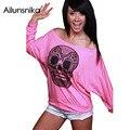 Ailunsnika 2017 New Summer Women Fashion Skull Print Off Neck White Pink Long Sleeve T-shirt DL25883