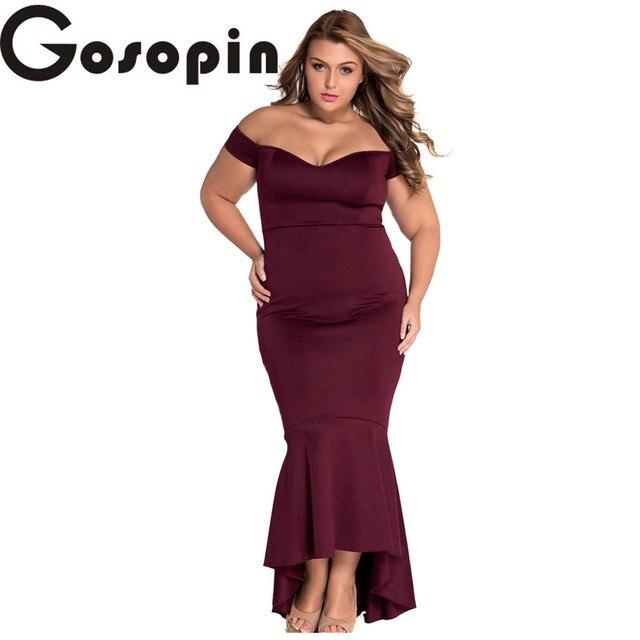 Gosopin summer party dress 2017 Black Maroon Big Size XXLOff-shoulder  Mermaid Jersey Maxi Dress Vestidos de Festa Longo LC60171 bff44ffc75be