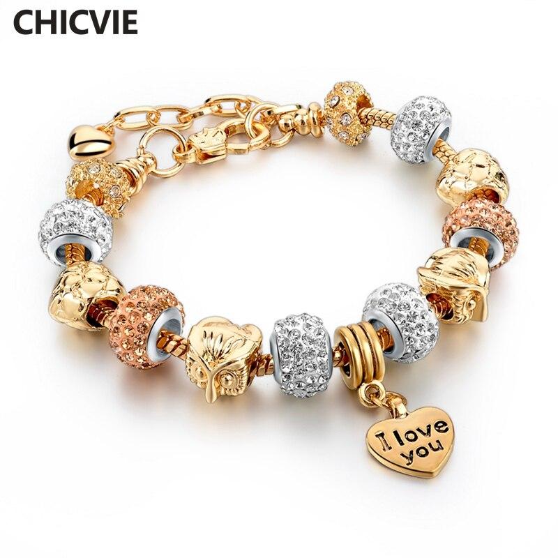 CHICVIE Gold Color Love Charm Bracelets & Bangles For Women Crystal Beads Bracelet Femme Brand Jewelry 2017 SBR160040