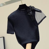 MUMUZI 2019 women t shirt black knitted tops bandage bow tee mesh patchwork short sleeve slim tshirts tops