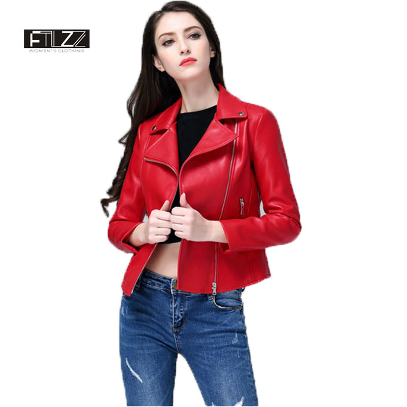 Women Red   Leather   Jacket New 2018 Spring Zipper Slim Biker Coats Female Black Motorcycle Jacket Ladies Cheap Coat Cuero Mujer