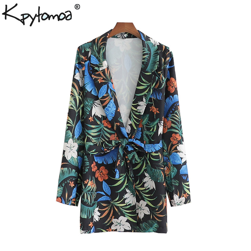 Vintage Chic Floral Print With Sashes Blazers Coat Women 2019 Fashion Notched Collar Long Sleeve Outerwear Casual Casaco Femme