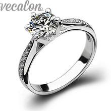 Vecalon Новая мода кольцо обручальное кольцо для женщин 1ct Имитация алмазный Cz Стерлингового Серебра 925 Женский Палец Обручальное кольцо(China (Mainland))