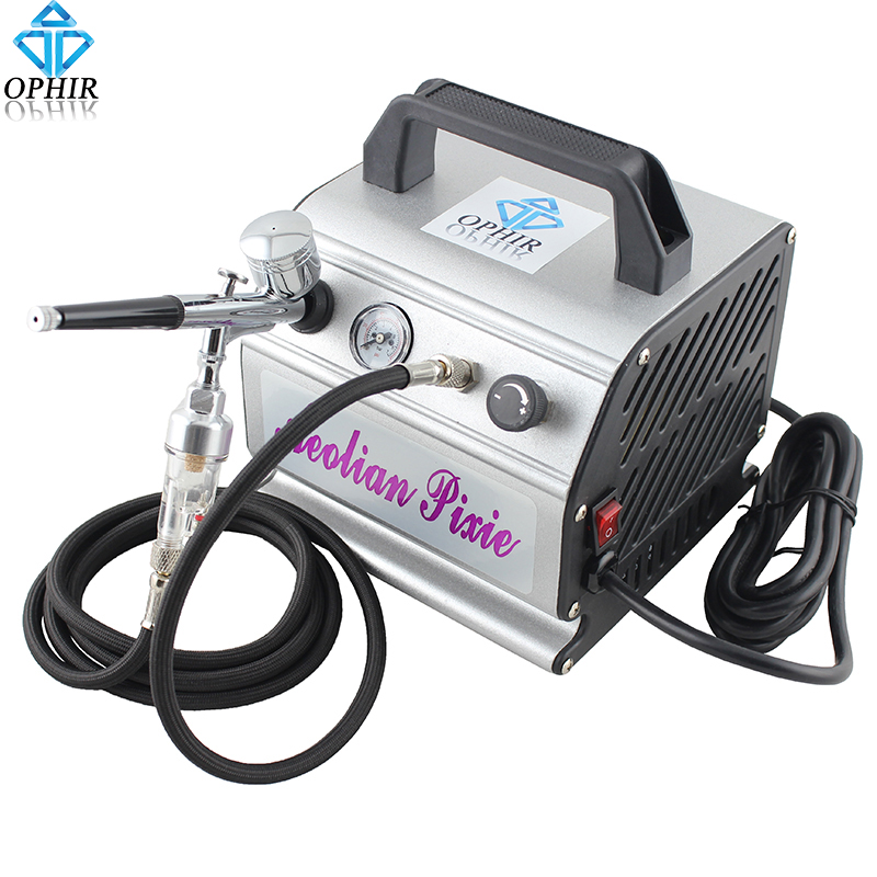 OPHIR 110V/220V Air Compressor with Gravity Airbrush Kit Dual Action Airbrush Compressor Set for Model Hobby Makeup_AC088+AC004