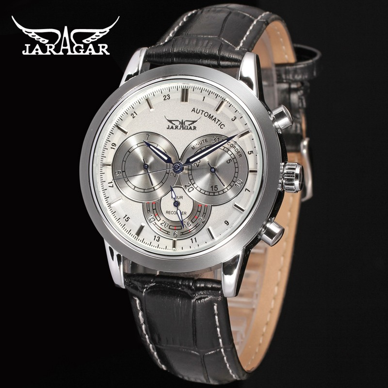 Подробнее о Fashion Jargar Automatic Men Watch Black Genuine Leather Strap Silver Color Case with Gift Box jargar jag6070m3s2 new men automatic fashion watch silver wristwatch for men with black leather strap best gift free ship