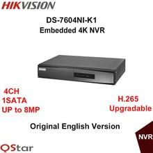 Oryginalna wersja angielska hikvision ds-7604ni-k1 osadzone 4 k h.265 do 8mp 4ch nvr wsparcie sieci