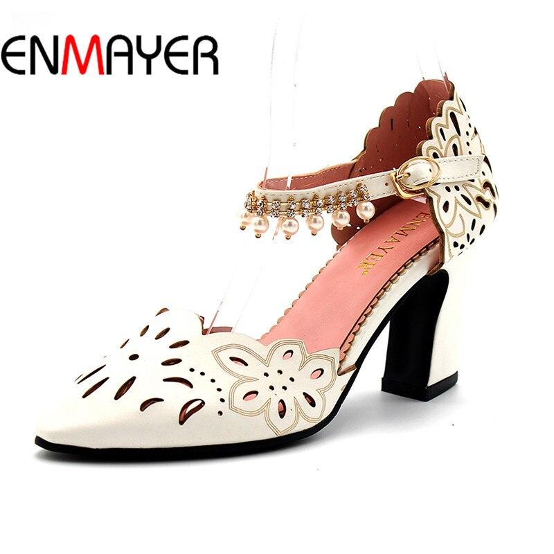 Enmayer/Летние женские сандалии Туфли-лодочки Ремешок на щиколотке острый носок квадратный каблук Бисер Большие размеры 34–43 черный, розовый с...