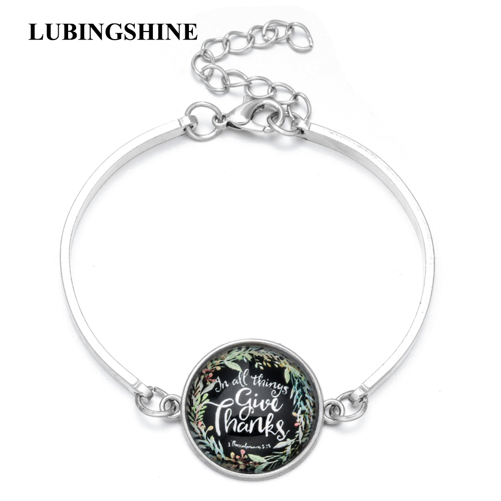 Trendy Art Picture Print Glass Bracelet Bangle Silver Color Chain Alloy Bracelets for Women Holiday Jewelry Accessories