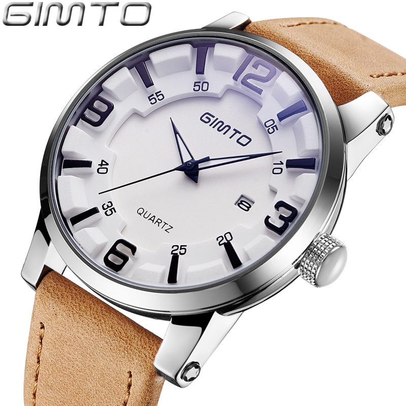 GIMTO Top Brand Luxury Men Watch Leather Military Male Watches Big Dial Calendar Quartz Wristwatch Sport Clock Relogio Masculino ot01 watches men luxury top brand new fashion men s big dial designer quartz watch male wristwatch relogio masculino relojes