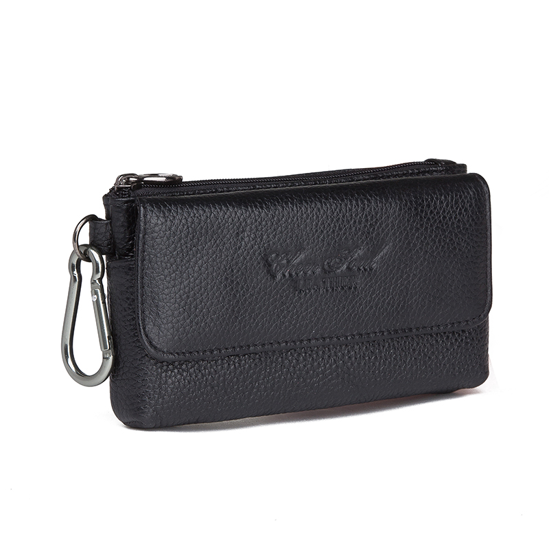 Men Cowhide Genuine Leather Hook Waist Pack Bag Hip Bum Coin Purse Pocuh Male Cell Mobile Phone Case Cover Skin Belt Fanny Bags
