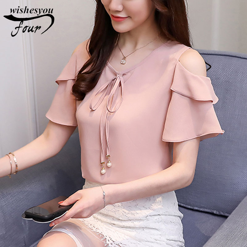 2019 new summer sweet solid women clothing fahison butterfly sleeved   blouses   chiffon casual bow short sleeved   shirts   D667 30