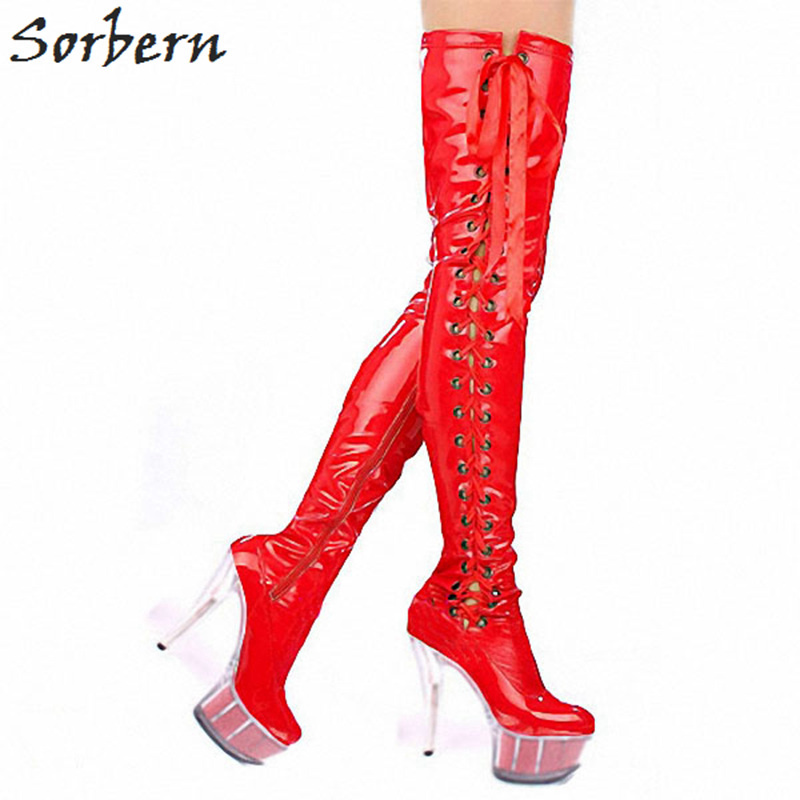 Sorbern Red Lace-Up Clear Heels Thigh High Boots For Women Runway Shoes Women Footwear Customized Long Boots Women 2018 New stunning high slit lace up red maxi skirt for women