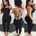 Las Mujeres atractivas Sin Mangas Monos monos WomenTrousers Casual vestido del Vendaje de Bodycon Negro M