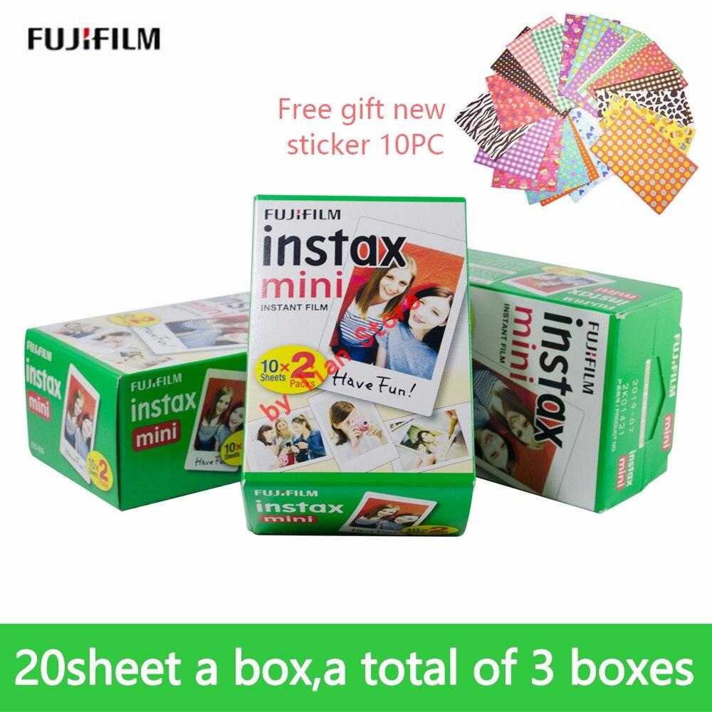 Fujifilm Instax Mini 8 blanc 3 pouces Film 60 feuilles + autocollants gratuits pour appareil Photo instantané FUJI Mini 9 7 s 25 50 s 70 90 appareil Photo