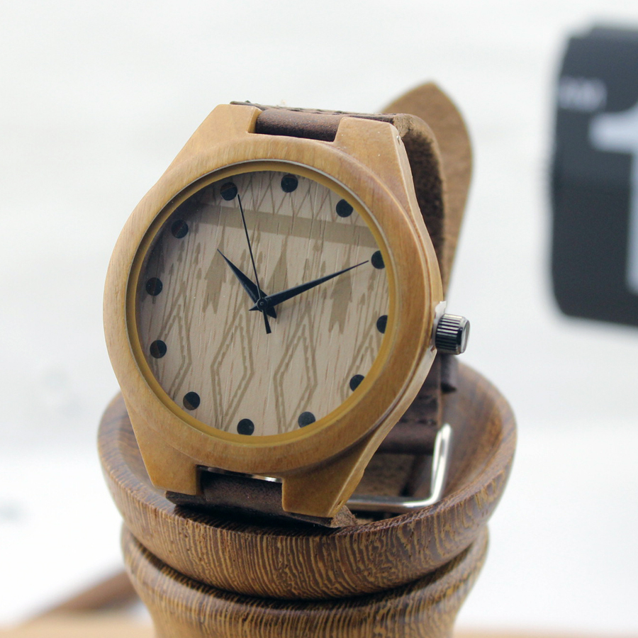 Brand Design Men s Bamboo Wristwatches With Genuine Cowhide Leather Band Luxury Wood Watch For Men