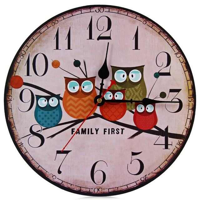 New European Style Vintage Creative Forest Owl Round Wood Wall Clock Quartz  Bracket Kitchen Clocks Decoration