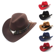 Ethnic Style Western Cowboy Hat Women\'s Wool Hat Jazz Hat Western Cowboy Hat Hot Selling недорого