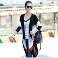 Malha Mulheres Camisola Longa Cardigans Casaco de Primavera 2016 Listras Coloridas Puxar Femme Outerwear Femme A979