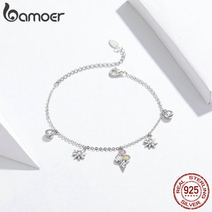 Image 4 - bamoer 4 pcs Ice Cream Jewelry Sets for Women Summer Collection 925 Sterling Silver Earrings Finger Rings and Necklace ZHS117