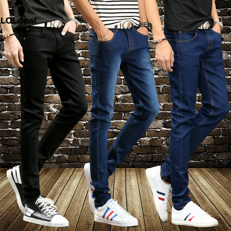 2017 Men Spring and summer men s denim trousers Slim feet stretch pants man jeans 28
